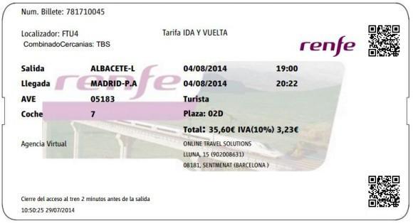 Billetes Ave Albacete Madrid