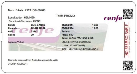 Billetes Ave Barcelona Ciudad Real