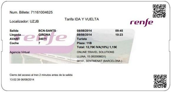 Billetes Ave Barcelona Girona