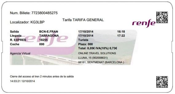 Billetes Ave Barcelona Tarragona