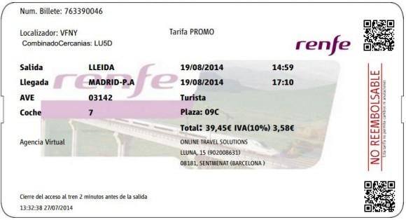 Billetes Ave Lleida Madrid