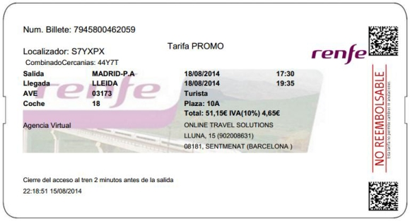 Billetes Ave Madrid Lleida