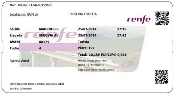 Billetes Ave Madrid Segovia