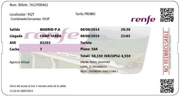 Billetes Ave Madrid Tarragona