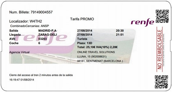 Billetes Ave Madrid Zaragoza