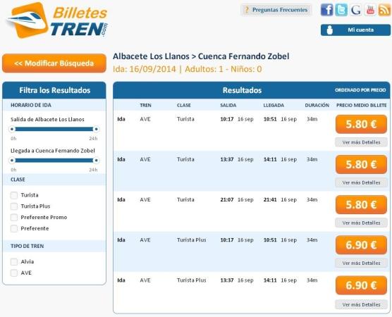 Precios Ave Albacete Cuenca