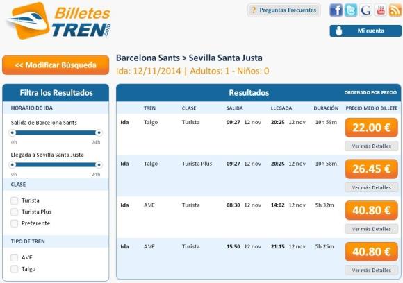 Precios Ave Barcelona Sevilla