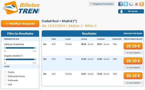 Precios Ave Ciudad Real Madrid