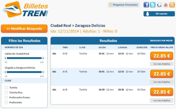 Precios Ave Ciudad Real Zaragoza