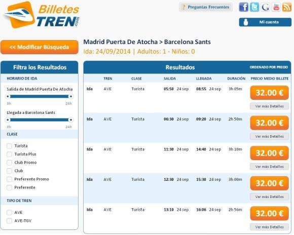 billetes ave madrid barcelona baratos desde 32