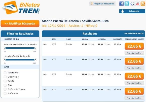 Precios Ave Madrid Sevilla