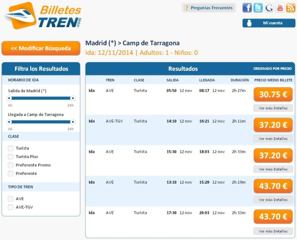 Precios Ave Madrid Tarragona