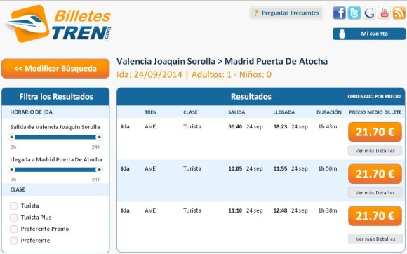 Precios Ave Valencia Madrid