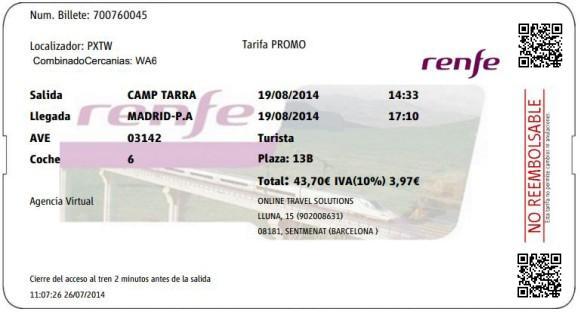 Billetes Ave Tarragona Madrid