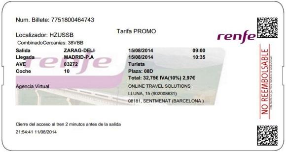 Billetes Ave Zaragoza Madrid