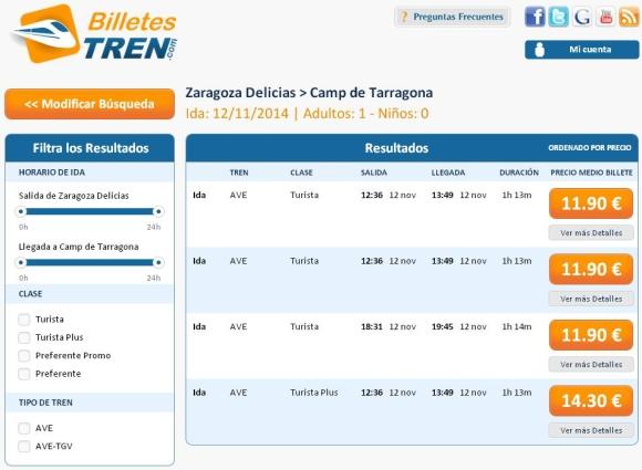 Precios Ave Zaragoza Tarragona